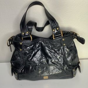 Kooba Black Leather Gold Tote Handbag Purse
